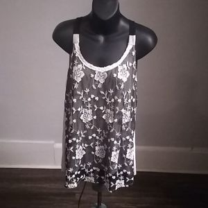 Maurices Black Lace & Embroidered Flowy Tank Shirt